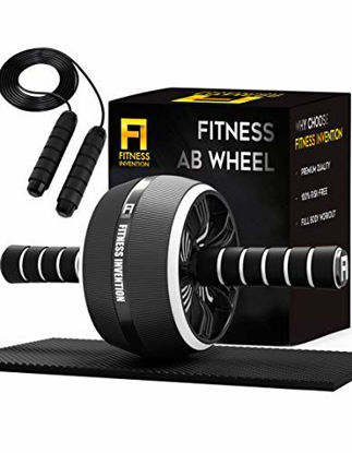 Picture of Fitness Invention Ab Roller Wheel - 3-in-1 Ab Wheel Roller with Knee Mat and Jump Rope