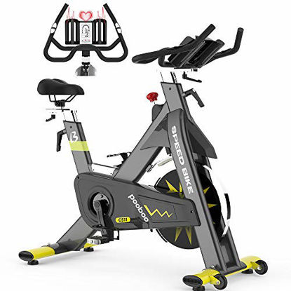 Picture of pooboo Indoor Exercise Bike Commercial Stationary Bike Belt Drive