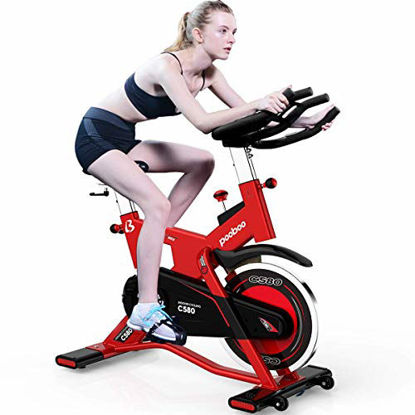 Picture of pooboo Pro Indoor Cycling Bike, Belt Drive Exercise Bike Stationary