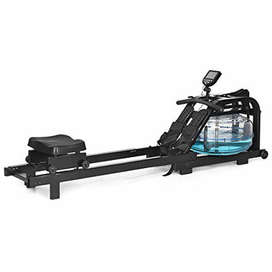 Picture of GYMAX Water Rowing Machine, Water Rower with Adjustable Resistance