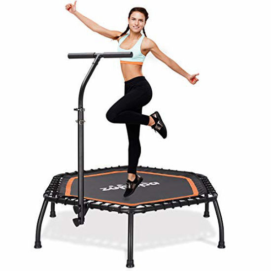 """Picture of Zupapa 45"""" Silent Mini Fitness Trampoline with Adjustable Handrail Bar"""