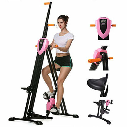 Picture of ANCHEER 2 in 1 Vertical Climber Step Fitness Machines, Gym Portable Foldable Climber Bike, Home Cardio Workout Training Full Body Fitness Stepper Trainer Climber (Pink)