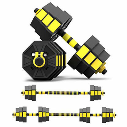 Picture of Mikolo Adjustable Dumbbells Barbell 2 in 1 with Connector, Adjustable Dumbbell Barbell Sets 44lbs, All-Purpose, Home, Gym Equipment, and Office