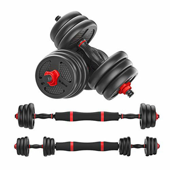Picture of Mikolo Adjustable Dumbbells Barbell 2 in 1 with Connector, Adjustable Dumbbell Barbell Sets 44lbs, Lifting Dumbells for Body Workout,Home, Gym, Office