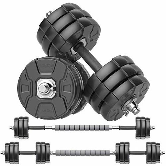 Picture of RUNWE Adjustable Dumbbell Barbell Set, Free Weight Set with Steel Connector at Home/Office/Gym Fitness Workout Exercises Training, All-Purpose for Men/Women/Beginner/Pro(66 lbs -2 Dumbbells in Total)