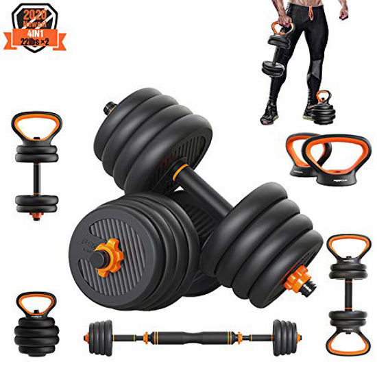 Picture of PINROYAL Weights Dumbbells Set - Adjustable Dumbbells Set 44 Lbs Barbell Weight Set with Connecting Rod - Exercise & Fitness Dumbbells - CIdeal for Dumbbells, Barbells, Kettlebells, Push Ups
