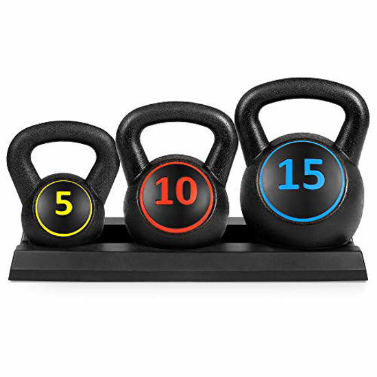 Picture of Best Choice Products 3-Piece HDPE Kettlebell Exercise Fitness Weight Set w/Base Rack, 5lb, 10lb, 15lb Weights