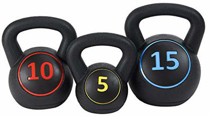 Picture of BalanceFrom Wide Grip 3-Piece Kettlebell Exercise Fitness Weight Set, Include 5 lbs, 10 lbs, 15 lbs, Black