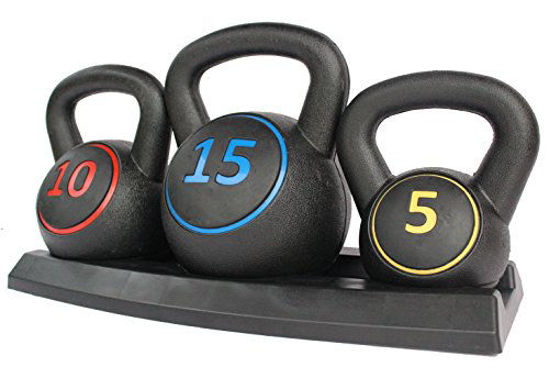 Picture of KLB Sport 3-Piece Vinyl Coated Kettlebell Weights Set with Tray for Cross Training, MMA Training, Home Exercise, Fitness Workout