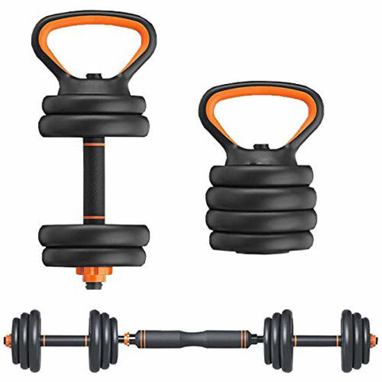 Picture of Elevens 66 Lbs Dumbbell Set with Barbell Kettlebell and Push Up Bar Function