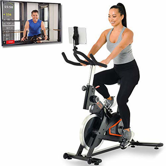 Picture of Women's Health Men's Health Indoor Cycling Exercise Bike with MyCloudFitness App and Phone/Tablet Holder, Black (1227)