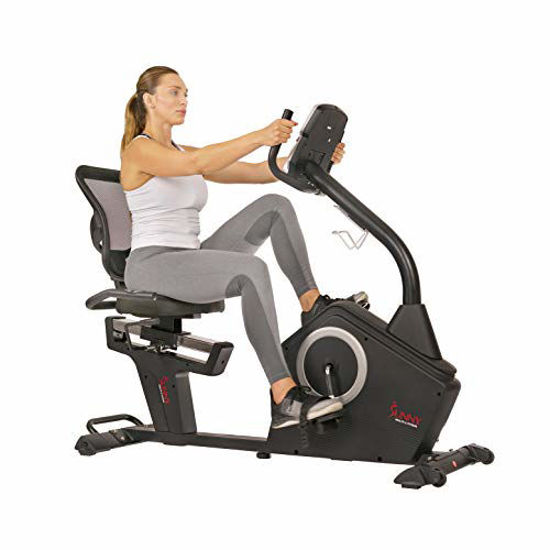 Picture of Sunny Health & Fitness Magnetic Recumbent Exercise Bike with Large Soft Comfort Seat with Mesh Back, 12 Preset or Custom Workouts and Advanced Performance Monitor - SF-RB4850