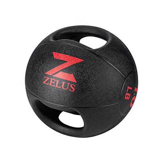 Picture of ZELUS Medicine Ball with Dual Grip| 10/20 lbs Exercise Ball |Weight Ball with Handles| Textured Grip Exercise Ball |Strength Training| Core Workouts|Balance Training|. Weights for Exercises