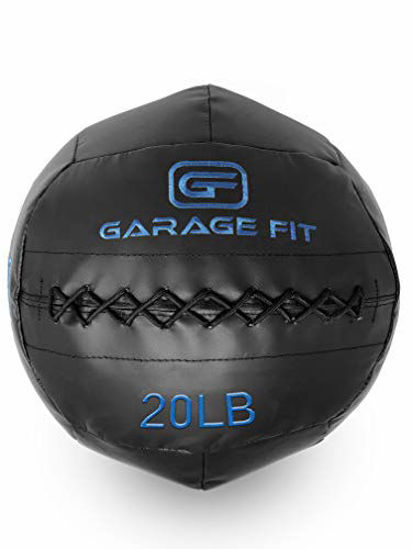 Picture of Garage Fit Soft Medicine Ball/Wall Ball/Wallball Plyometrics, Core Training, Cardio Workouts - Ideal for Wall Balls Squats, Lunges, Partner Toss, Slam (Black, 20 lb - 9.1 kg)