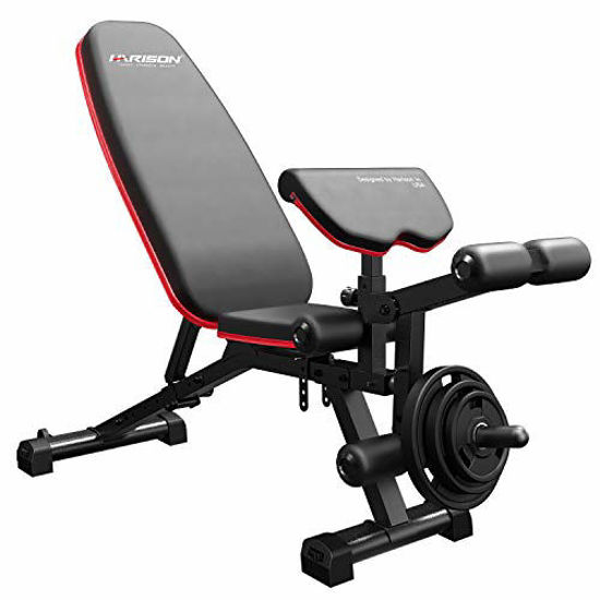 Picture of HARISON Weight Bench Adjustable Utility Exercise Workout Bench with Barbell Rack and Preacher Pad Leg Extension for Full Body Home Gym Strength Training Multi-Purpose Folding Flat Incline Decline Bench 550 LBS (HR-609)
