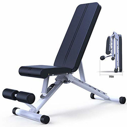 Picture of Adjustable Weight Bench, Utility Weight Benches for Full Body Workout, Sit Up Bench Abdominal Trainer Level Adjustable Fitness Crunches Machine Workout Training Bench, Black