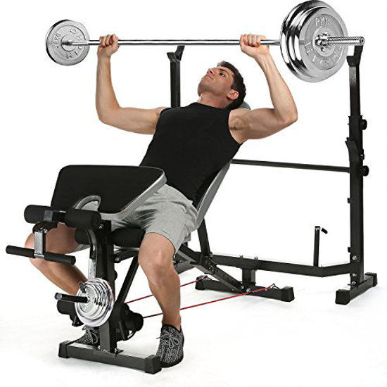 Picture of Aceshin 330lbs Adjustable Olympic Weight Bench with Preacher Curl & Leg Developer, Lifting Press Gym Exercise Equipment for Full-Body Workout