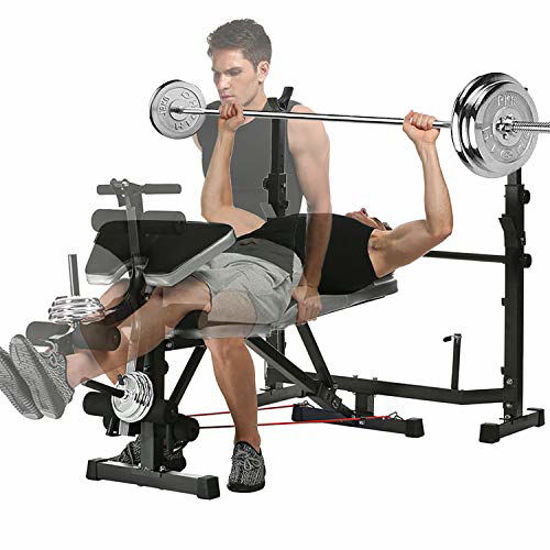 Picture of Adjustable Olympic Weight Bench with Leg Developer for Weight Lifting and Strength Training and Squat Rack Stand for Proffesional Fitness Home Use Indoor Exercise (Black)