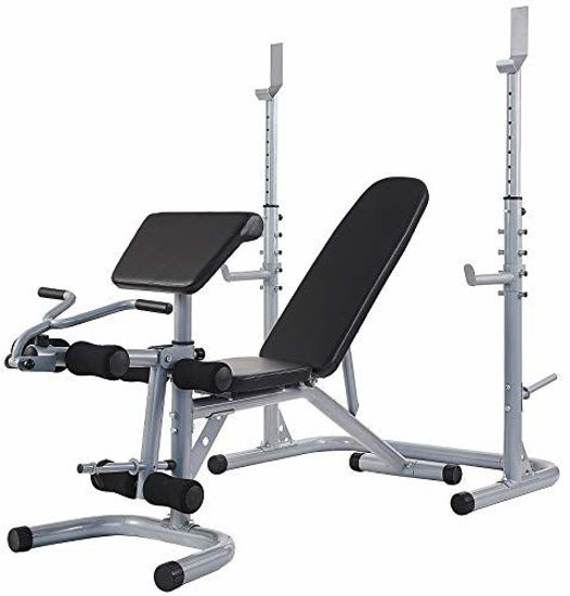 Picture of Sporzon Multifunctional Workout Station Adjustable Olympic Workout Bench with Squat Rack, Leg Extension, Preacher Curl, and Weight Storage, 800-Pound Capacity, Gray, Model Number: RS60