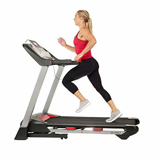 Picture of Sunny Health & Fitness Electric Folding Treadmill with LCD and Pulse Monitor, 265 LB Max Weight, Tablet Holder, Bluetooth Speakers and USB Charging - SF-T7917,Black