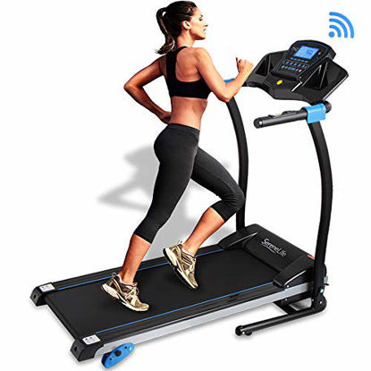 Picture of SereneLife Smart Digital Folding Treadmill - Electric Foldable Exercise Fitness Machine, Large Running Surface, 3 Incline Settings, 16 Preset Program, Sports App for Running & Walking (SLFTRD25)