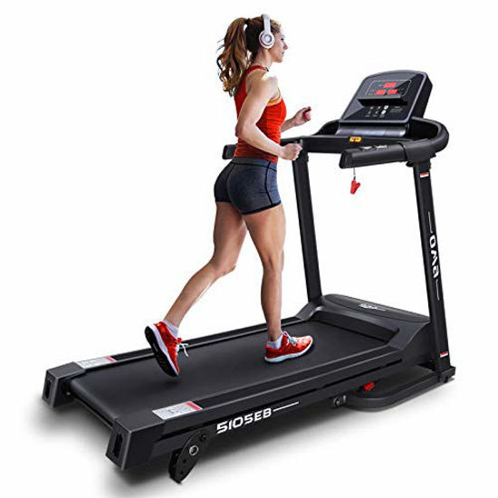 Picture of OMA Home Treadmills, Max 2.25 HP Folding Incline Treadmills for Running and Walking Exercise with LED Display of Tracking Heart Rate, Calories - Black