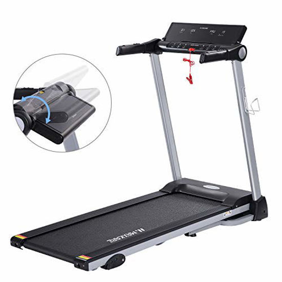 Picture of MaxKare Folding Treadmill Electric Motorized Running Machine with 15 Pre-Set Programs 2.5HP Power 8.5 MPH Max Speed White LED Display and Mobile Phone & Water Bottle Holder for Indoor Exercise