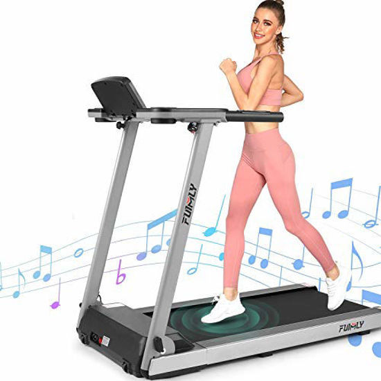 Picture of FUNMILY Treadmill, 2.25HP Folding Treadmills for Home with Table & Bluetooth Speaker & Large LCD Monitor, Zero Installation Walking Jogging Machine for Home/Office Use (Sliver)