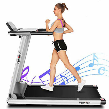 Picture of FUNMILY Treadmill, 2.25HP Folding Electric Treadmills with Large Desk and Heavy Duty Steel Frame, 12 preset Programs, Best Walking Running Exercise Machine for Home Gym Office Cardio Use (Gray)