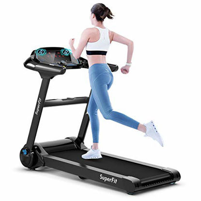 Picture of Goplus Electric Folding Treadmill, Portable Running Jogging Machine with Bluetooth Speaker and 17'' Wide Tread Belt, Perfect for Home and Office Use