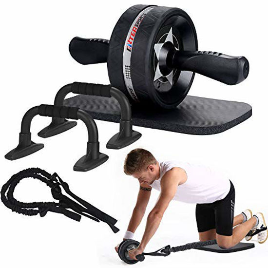 Picture of EnterSports Ab Roller Wheel, 6-in-1 Ab Roller Kit with Knee Pad, Resistance Bands, Pad Push Up Bars Handles Grips, Perfect Home Gym Equipment for Men Women Abdominal Exercise