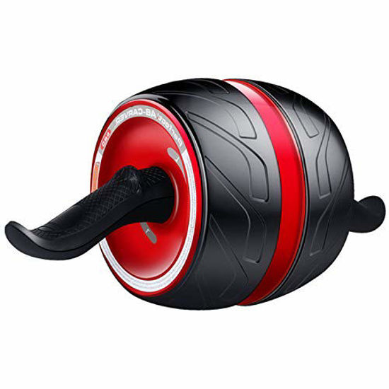 Picture of Laus Ab Carver Wheel Roller - with Knee Pad Mat, Automatic Rebound and Multiple Angles Core Workouts (Wine Red)