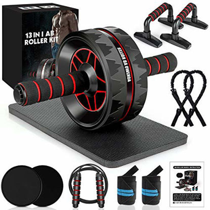 Picture of MIBOTE 13-in-1 Ab Roller Wheel Kit with Knee Pad, Resistance Bands, Push-Up Bar, Jump Rope, Core Strength & Abdominal Home Gym Abs Workout Equipment for Men/Women