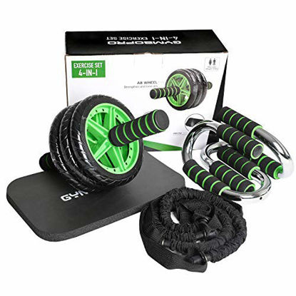 Picture of GYMBOPRO 4-in-1 AB Wheel Roller Kit AB Roller Pro with Resistant Band,Knee Pad,Push Up Bar - Perfect Abdominal Core Carver Fitness Workout for Abs