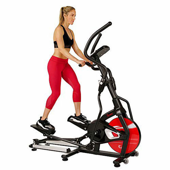 Picture of Sunny Health & Fitness Magnetic Elliptical Trainer Machine w/ Tablet Holder, LCD Monitor, 265 Max Weight and Pulse Monitor - Stride Zone - SF-E3865,Black
