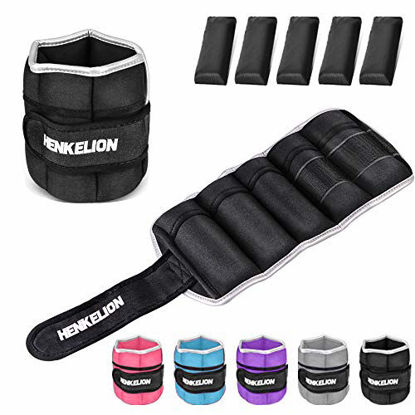 Picture of Henkelion 1 Pair 10Lbs Adjustable Ankle Weights for Women Men Kids, Wrist Weights Ankle Weights Sets for Gym, Fitness Workout, Running, Lifting Exercise Leg Weights - Each 5 Lbs Black