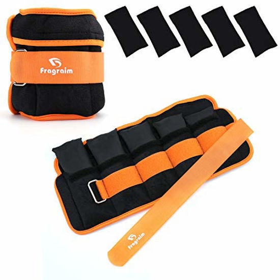 Picture of Fragraim Adjustable Ankle Weights 1-8 LBS Pair with Removable Weight for Jogging, Gymnastics, Aerobics, Physical Therapy, Resistance Training 0.8-4 lbs Each Pack, 2 Pack, Orange