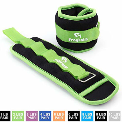 Picture of Fragraim Ankle Weights for Women, Men and Kids - Strength Training Wrist/Leg/Arm Weight Set with Adjustable Strap for Jogging, Gymnastics, Aerobics, Physical Therapy (Green - 2 lbs Pair)