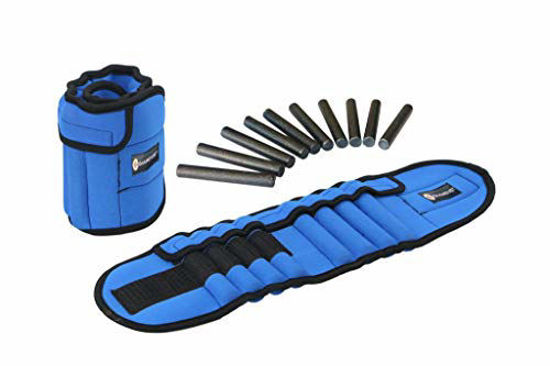 Picture of GYMENIST Pair of Ankle Weights Can Be Adjusted Up to 5.5 LB Each Set of 2 x Weight Wraps (Total 11-LB), Blue (4347391503)