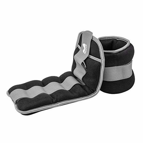 Picture of REEHUT Ankle/Wrist Weights (10 lbs Pair) with Adjustable Strap for Fitness, Exercise, Walking, Jogging, Gymnastics, Aerobics, Gym - Gray - 5 lbs Each