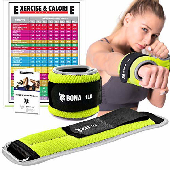 Picture of Bona Fitness Adjustable Ankle Weight with Reflective Trim-Durable Arm Leg Weights with Strap for Fitness(N Gray)