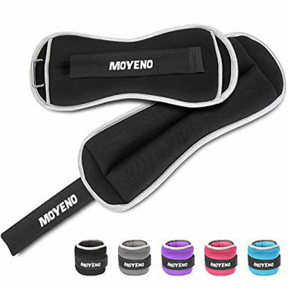 Picture of Moyeno 1 Pair 4Lbs Adjustable Ankle Weights for Women Men Kids, Wrist Weights Ankle Weights Sets for Gym, Fitness Workout, Running, Lifting Exercise Leg Weights - Each 2 Lbs Black