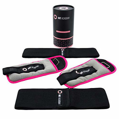 Picture of HIIT Academy   Womens 2x2lb Ankle Weights Set   Bonus Fabric Resistance Booty Bands   Perfect for Strength, Fitness, Toning & Fat Loss.