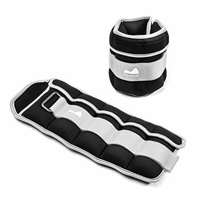 Picture of REEHUT Ajustable Ankle and Wrist Weights with Strap for Fitness, Jogging, Walking, Hiking and Gym (1-5 lbs per Weight, 2-10lbs a Pair)