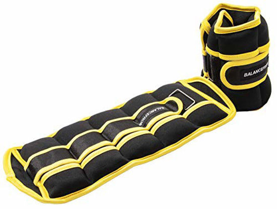 Picture of BalanceFrom GoFit Fully Adjustable Ankle Wrist Arm Leg Weights, Black/Yellow
