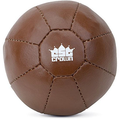 Picture of Crown Sporting Goods Vintage Soft Touch Leather Weighted Medicine Ball for Core Fitness, Resistance, Strength Training, Exercise Conditioning 2 kg (4.4 lbs)