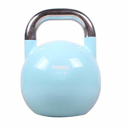 Picture of POWERT Competition Kettlebell|Premium Quality Coated Steel|Ergonomic Design|Great for Weight Lifting Workout & Core Strength Training& Muscle Building|Color Coded 10-50LB|Single (B-15 LB)