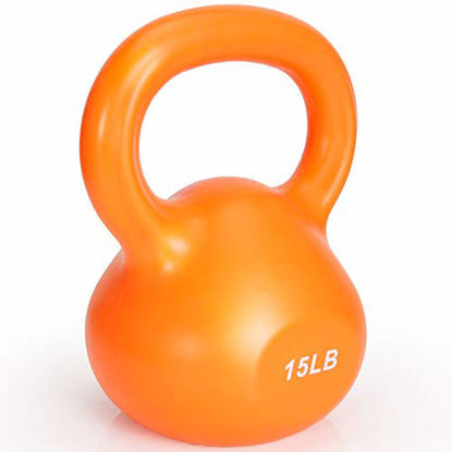 Picture of Kettlebell Weights Solid Iron Kettlebells Vinyl Coated Exercise Kettlebell Set for Women, Kettle Bal Training Equipment Workout Free Weights for Ballistic, Core, Kettlebell Set for Home Gyms - 15lbs