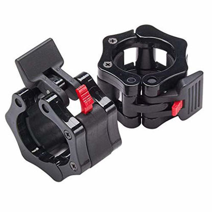 """Picture of Quick Release Non-Slip Pair 2"""" Olympic Barbell Collar ABS Locking Set, Black Clamps Great for Pro Training/Workout Weightlifting/Fitness Training"""