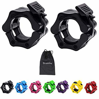 Picture of Strainho Olympic Weight Bar Clips - 2 inch Barbell Collars - Quick Release Olympic Barbell Clamp for Weightlifting, Olympic Lifts and Strength Training (Black)